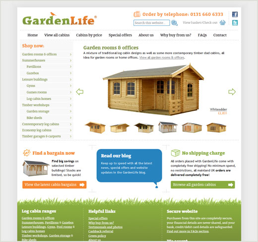 GardenLife Log Cabins website design