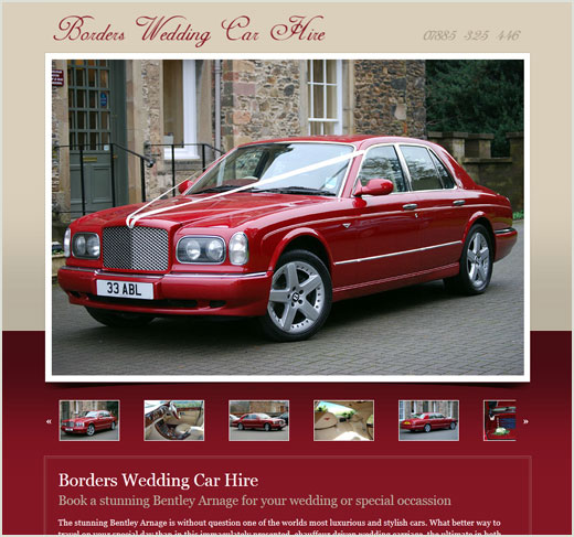 Borders Wedding Car Hire website design