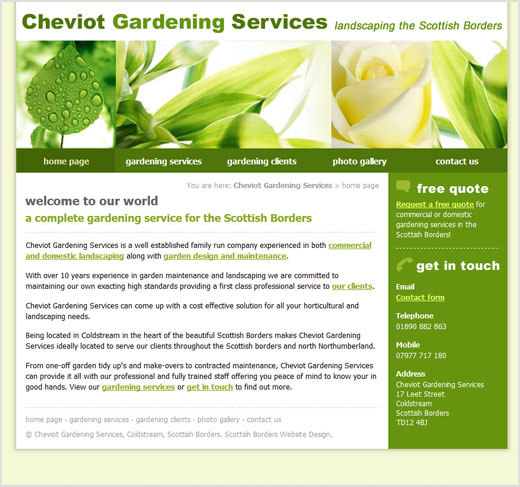 Cheviot Gardening Services website design