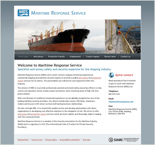 Maritime Response Service website design