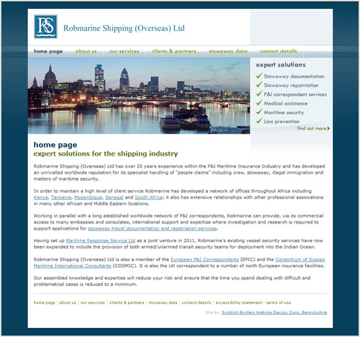 Robmarine Shipping website design