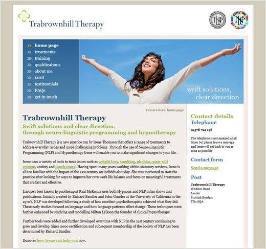 Trabrownhill Therapy website design