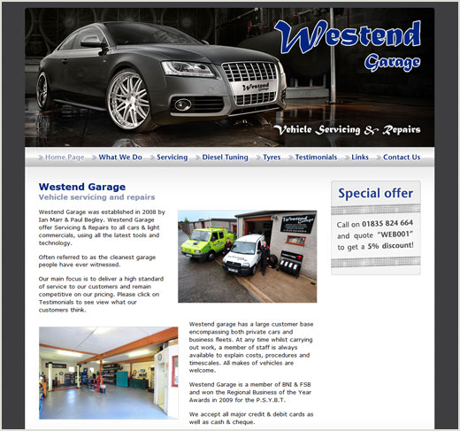 Westend Garage website design