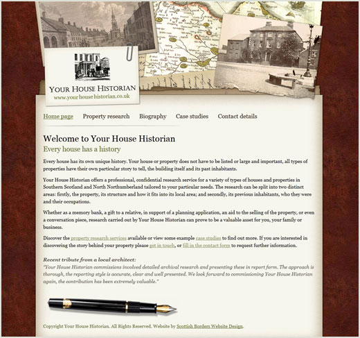 Your House Historian website design