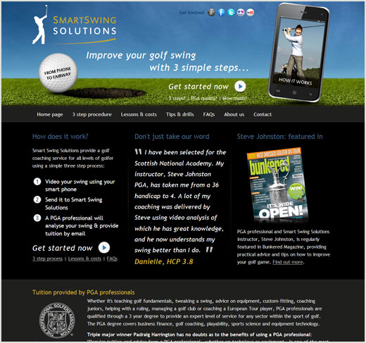 Smart Swing Solutions website design
