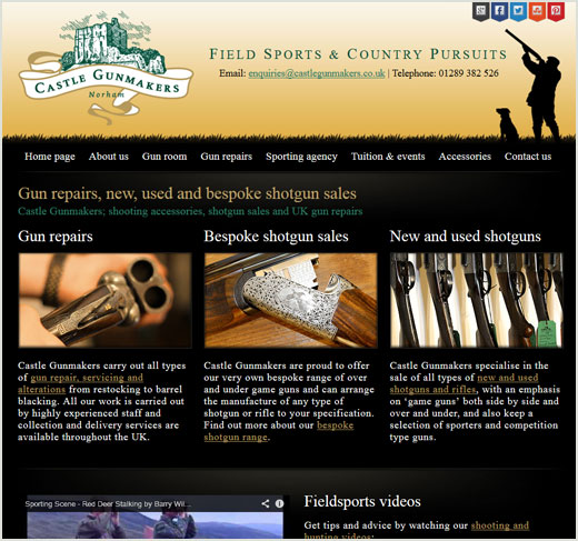 Castle Gunmakers website design
