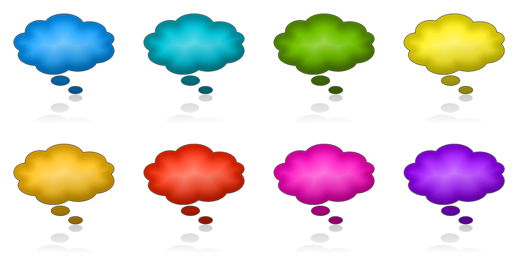 Download this free blank 3D thought bubble iconset (multicoloured)