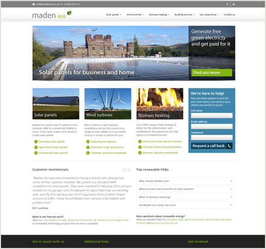 Maden Eco website design
