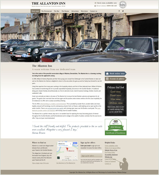Allanton Inn responsive website design