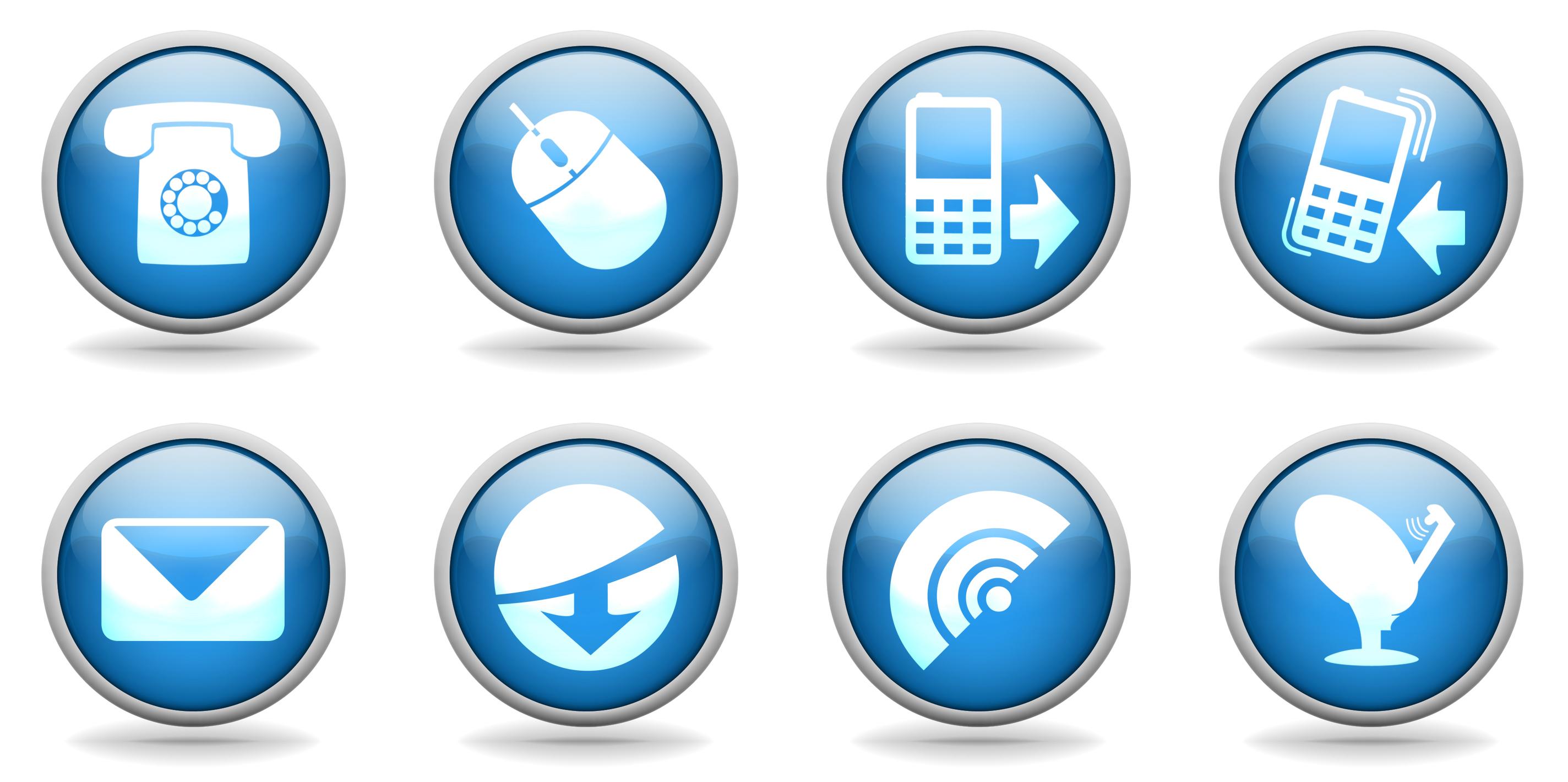 Internet design elements communication symbols circles isolation.